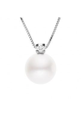 Collier Véritable Diamant & Perle d'Eau Douce