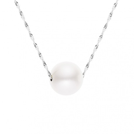 Collier Chaine Singapour en Or Blanc