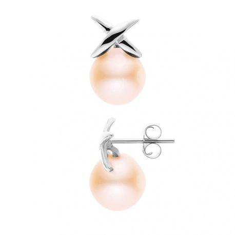 Boucles d'Oreilles - Motif Nœud  Or Blanc _x000D_