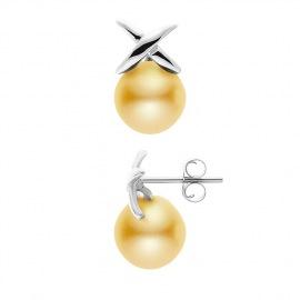 Boucles d'Oreilles - Motif Nœud- en Or Blanc _x000D_