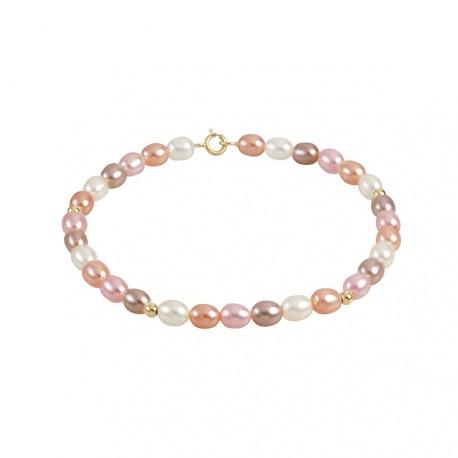 Bracelet Rang de Perles  ponctué de Boules Or - Fermoir Or Jaune