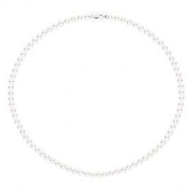 Collier de Perles Fermoir Mousqueton Or Blanc