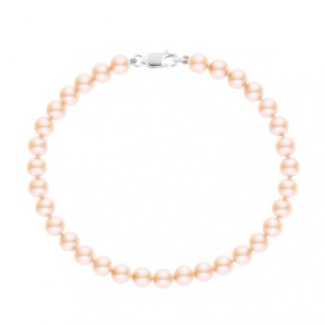 Bracelet Rang de Perles  - Fermoir Mousqueton Or Blanc