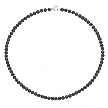 Collier Rang de Perles  Fermoir Anneau Marin Or Blanc