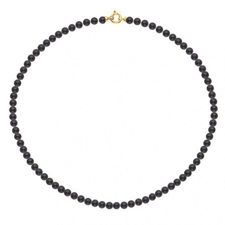 Collier Rang de Perles  Fermoir Anneau Marin Or Jaune