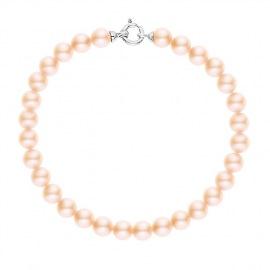 Bracelet Rang de Perles  - Fermoir Anneau Marin Or Blanc