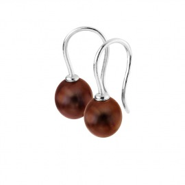 Boucles d'Oreilles Pendantes en Argent Massif & Perles
