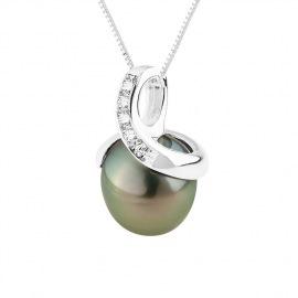 Pendentif Prestige Serti Diamant Bélière Spirale en Or Blanc
