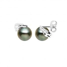Boucles d'Oreilles - Motif Feuille  Or Blanc