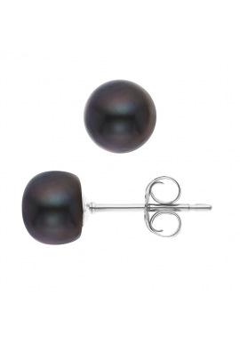 Boucles d'Oreilles en Argent Massif & Perles