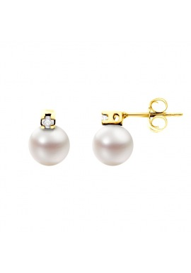 Boucles d'Oreilles en Or Jaune & Diamants