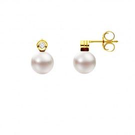 Boucles d'Oreilles en Or Jaune & Diamants
