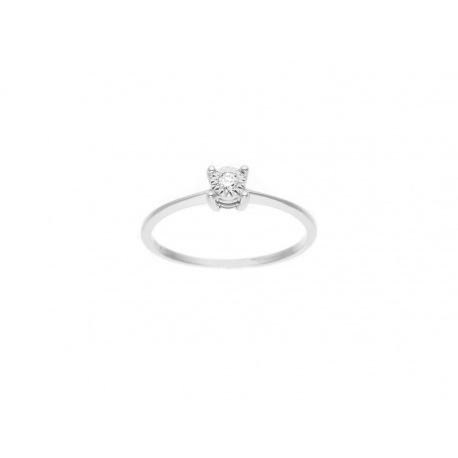 Bague Solitaire Véritables Diamants 0,035 Carats