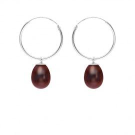 Boucles d'Oreilles Créoles en Argent Massif & Perles