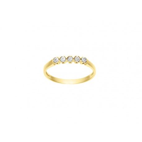 Bague Riviere Véritables Diamants 0,025 Carats