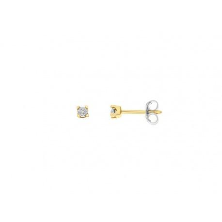 Boucles d'Oreilles Solitaire Véritables Diamants Serti Illusion 0,25 Carats