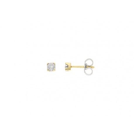 Boucles d'Oreilles Solitaire Véritables Diamants Serti Illusion 0,40 Carats