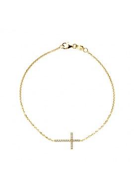 Bracelet Véritables Diamants 0,15 Carats Croix