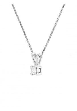Collier Véritable Diamant Solitaire 0,07 Carats Serti 4 Griffe