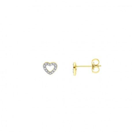 Boucles d'Oreilles Coeur Véritables Diamants 0,08 Carats