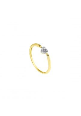 Bague Solitaire Cœur Véritables Diamants 0,032 Carats