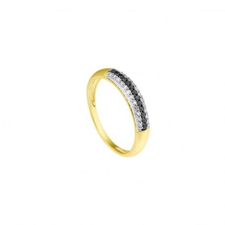 Bague Demie Alliance Véritables Diamants 0,26 Carats Sertie Véritables Diamants Blancs et Noir