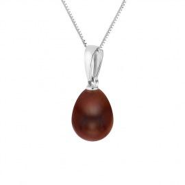 Collier OMEGA Prestige & Pendentif Véritable Perle de Culture d'Eau Douce - Argent Massif
