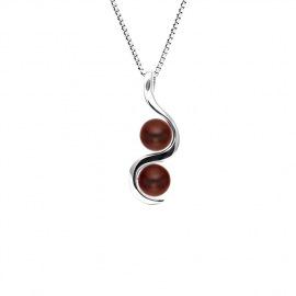 Collier avec Pendentif TOI & MOI 2 Véritables Perles Culture d'Eau Douce - Maille Vénitienne Argent Massif