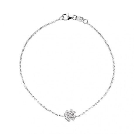 Bracelet Trèfle Porte Bonheur Véritables Diamants 0,08 Carats
