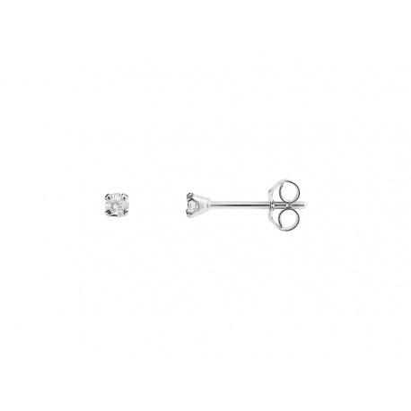 Boucles d'Oreilles Solitaire Véritables Diamants 0,10 Carats Serties 4 Griffe
