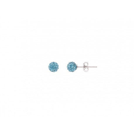 Boucles d'Oreilles Véritable Crystal Bleu