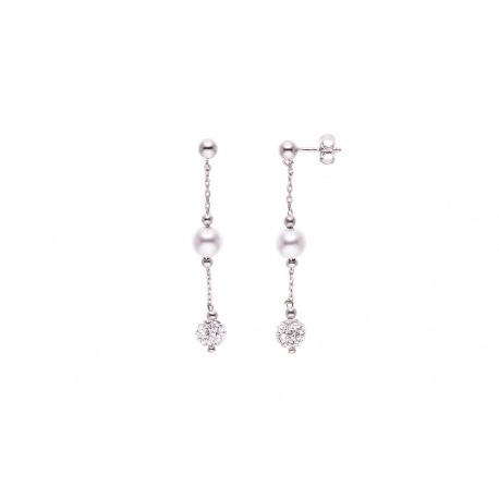 Boucles d'Oreilles Véritable Crystal & Perles