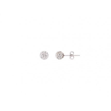 Boucles d'Oreilles Boules & Véritable Crystal