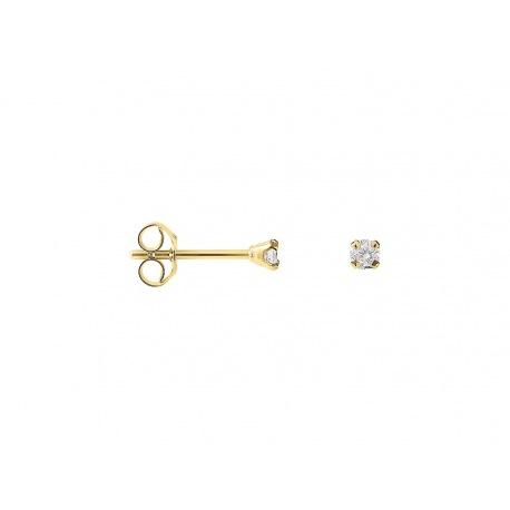 Boucles d'Oreilles Solitaires Véritables Diamants 0,10 Carats Serti 4 Griffe