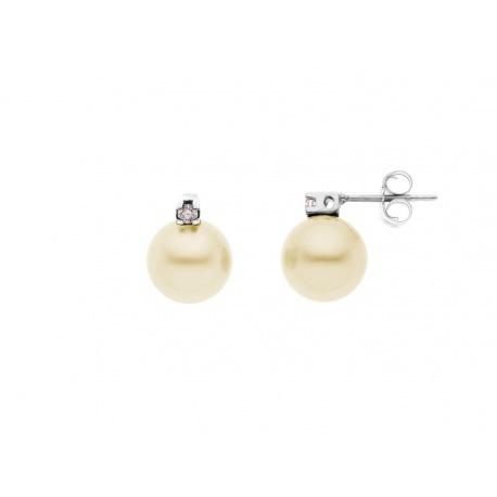 Boucles d'Oreille Véritables Diamants & Perles