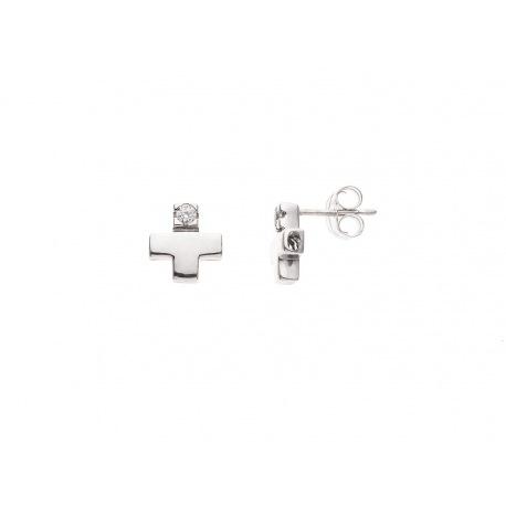Boucles d'Oreille Véritables Diamants 0,06 Carats Sertis Croix