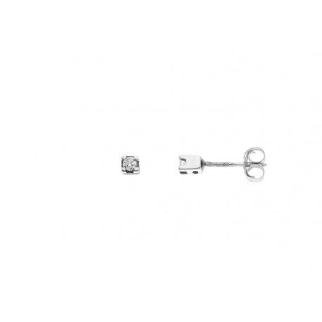 Boucles d'Oreille Véritables Diamants 0,06 Carats Sertis Griffe