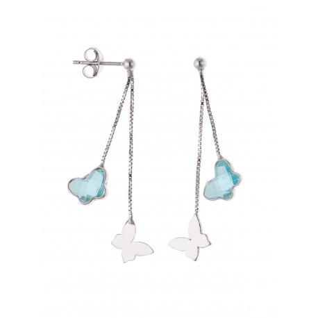 Boucles d'Oreilles pendantes & Papillon Topaze