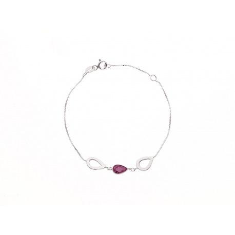 Bracelet Argent orné de Goutte Argent et Améthyste
