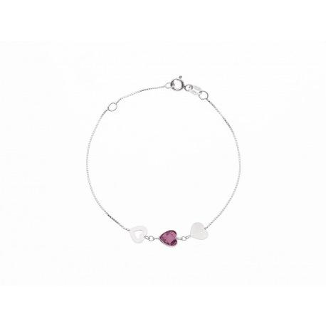 Bracelet Argent orné de Cœurs Argent et Améthyste