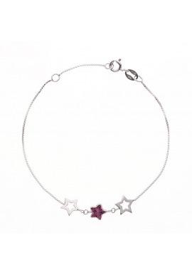 Bracelet Argent orné d'Etoiles Argent et Améthyste