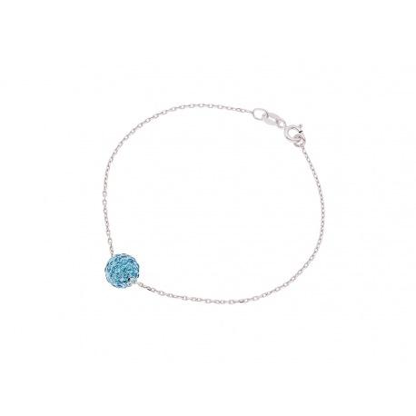 Bracelet Argent & Véritable Crystal Bleu