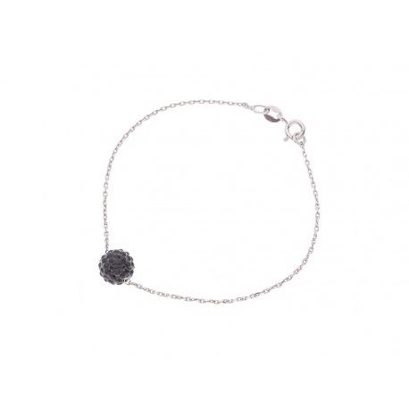 Bracelet Argent Véritable Crystal Noir
