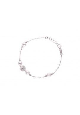 Bracelet Argent Véritable Crystal & Perles