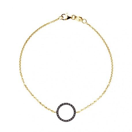 Bracelet Véritables Diamants Noirs 0,20 Carats Cercle