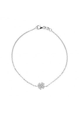 Bracelet Véritables Diamants 0,08 Carats Trèfle Porte Bonheur