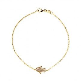 Bracelet Véritables Diamants Blancs 0,15 Carats Main Porte Bonheur