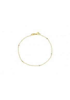 Bracelet 5 Véritables Diamants Blancs Alternés 0,05 Carats