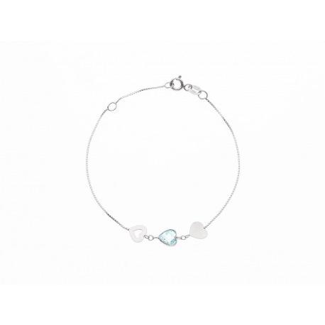 Bracelet Argent orné de Topaze & Cœurs