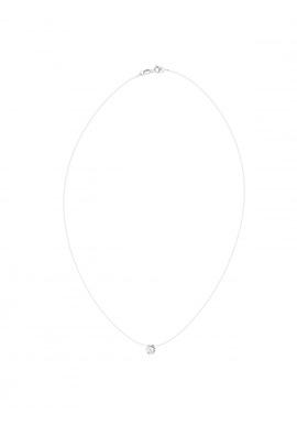 Collier Fil Nylon Transparent Orné d'un Solitaire Blanc